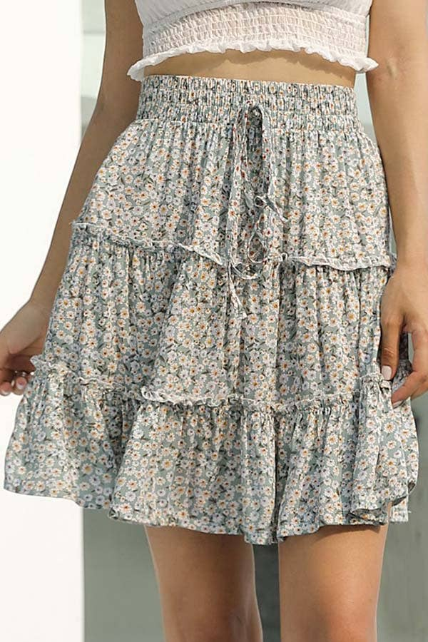 ESLEY - 50012SNH- Lovely Tiered High Waist Mini Skirt