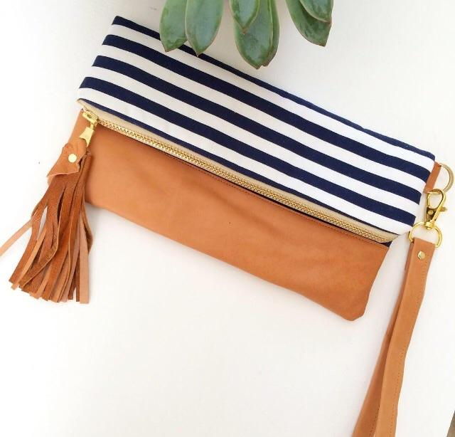Melmax Design - Navy Stripes Foldover Clutch