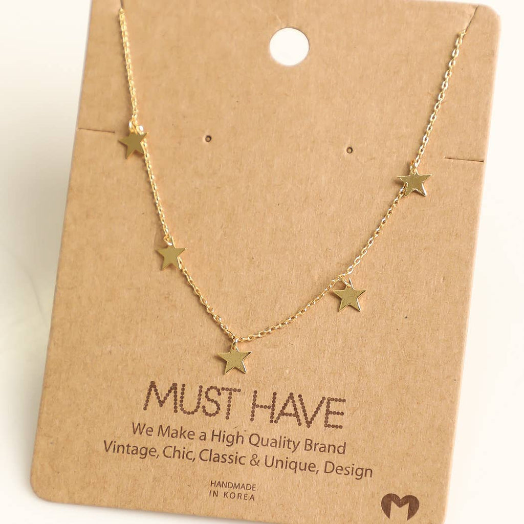 Fame Accessories - Multi Mini Star Charm Necklace