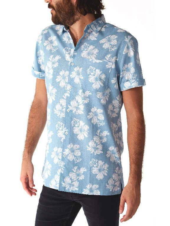 PX - Hawaiian dream blue floral dress shirt