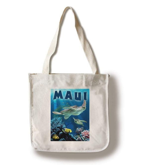 Lantern Press - Maui Hawaii Sea Turtles Tote