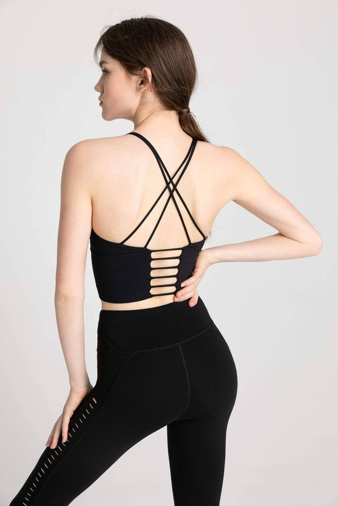 J.ING - Carbon Black Strappy Ladder Back Bra Top