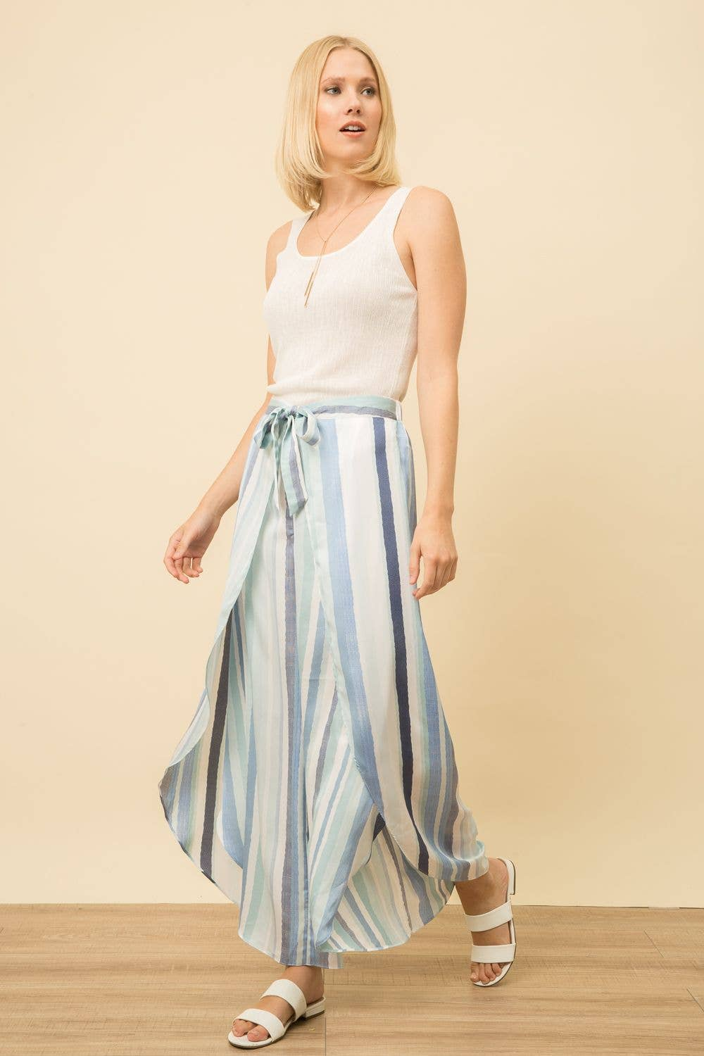 Mystree - Overlapped Detail Multi Striped Culotte Pants