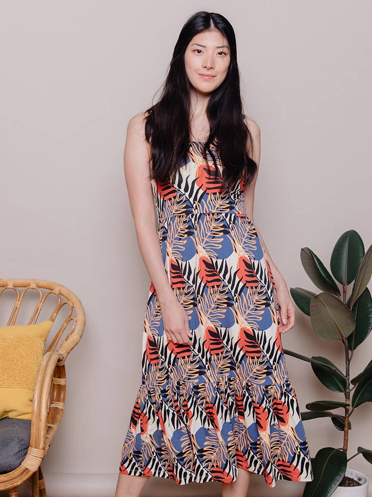 Mata Traders - Opal Dress Layered Palms Peach