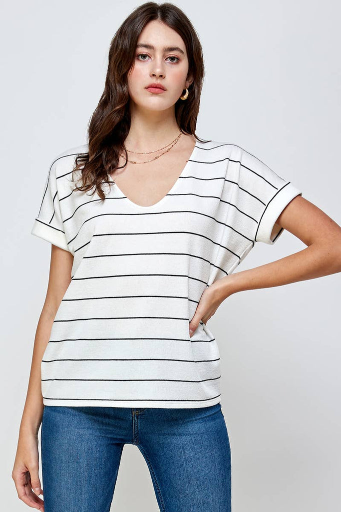 Summer 10 - STRIPE SHORT SLEEVE TOP