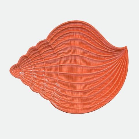 "Coastal Conch Shell coral 15"" platter"