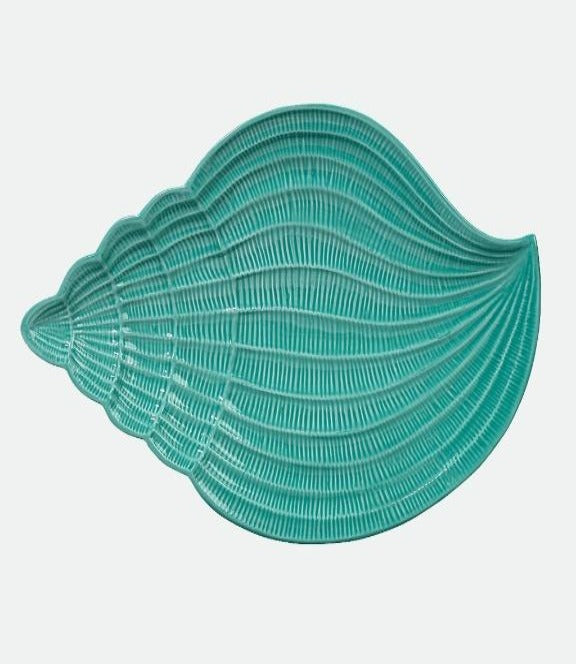 "Coastal Conch Shell Turquoise 15"" platter"