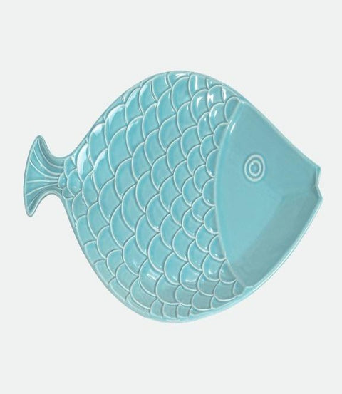 "Coastal Fish Sky Blue 15"" platter"