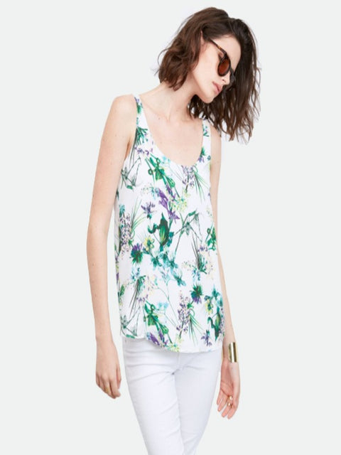 Amour Vert- Stacy silk scoop neck tank