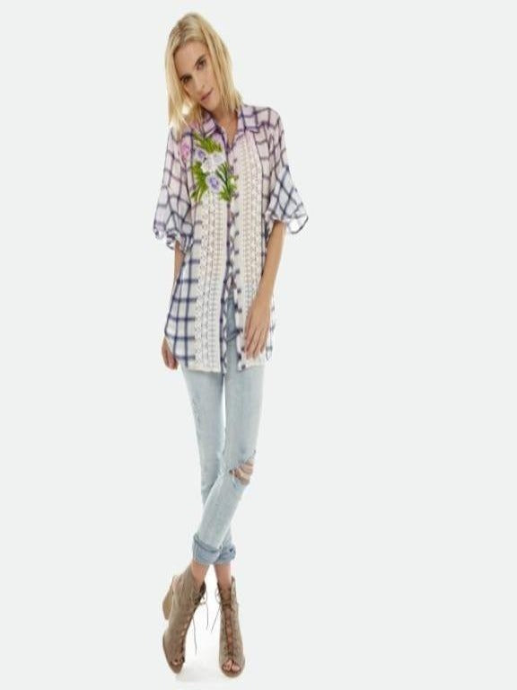 Aratta- Daylily ivory/blue plaid top