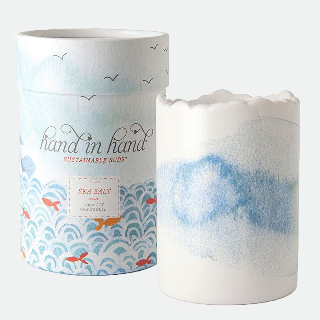 Hand in Hand- Sea Salt Ceramic Soy Candle