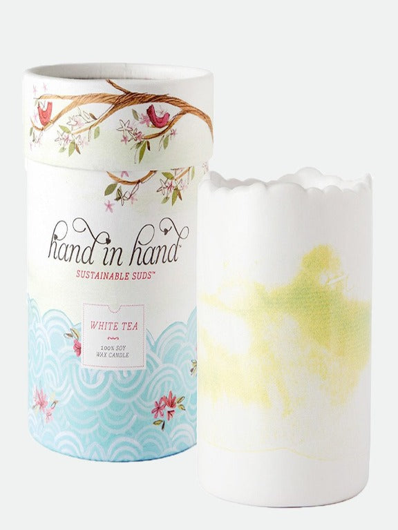 Hand in Hand- White Tea Ceramic Soy Candle