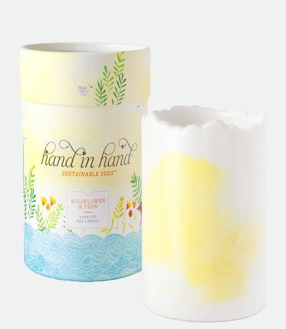 Hand in Hand- Wildflower & Fern Ceramic Soy Candle
