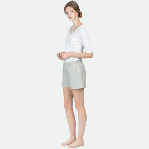 Linen cotton woven shorts