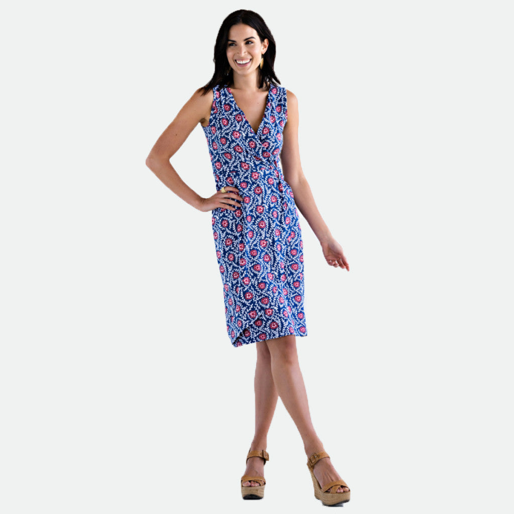 Mata Traders- Eva wrap dress navy