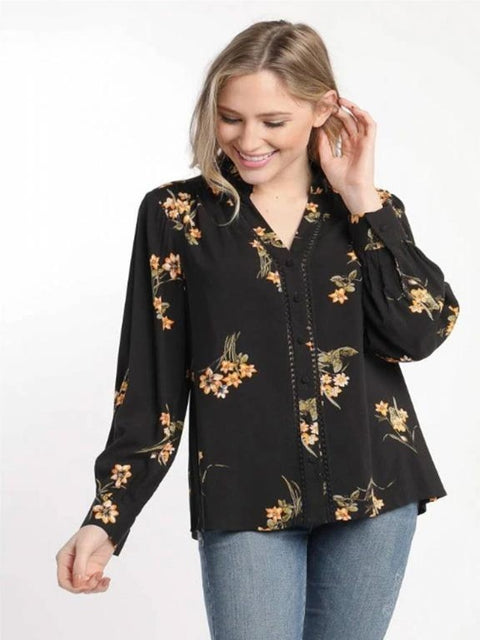 Skies are Blue- Black Orange Floral Blouse