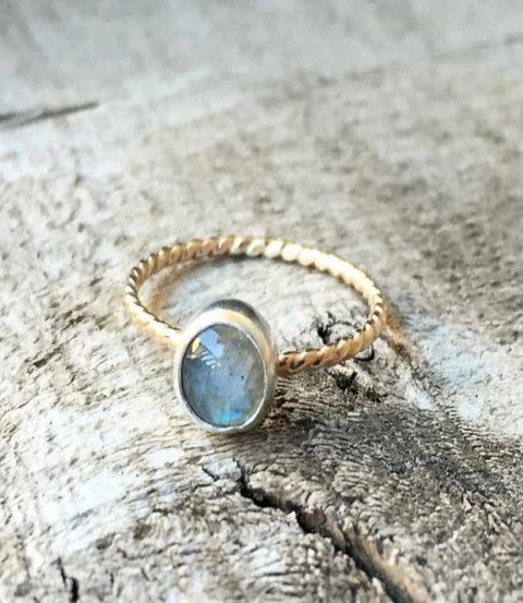 Gilded Bug Jewelry- Labradorite Twisted Band Ring