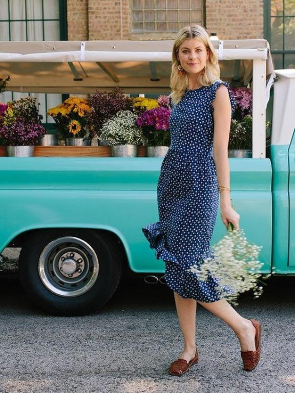 Mata Traders - Blue Dots Ruffled Midi Dress