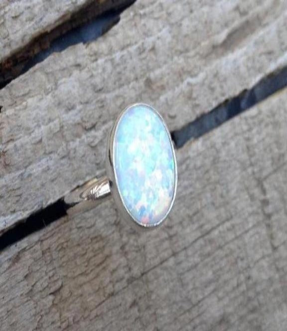 Gilded Bug Jewelry- Large Oval Opal ring