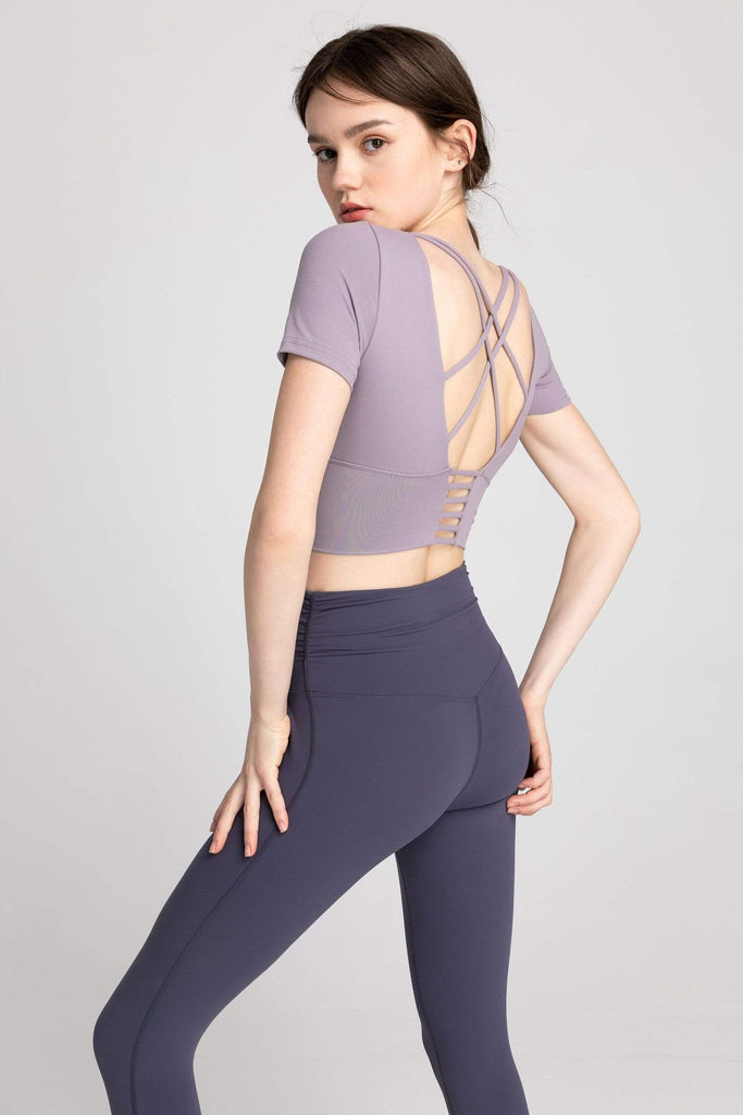 J.ING - Powdered Violet Strappy Back Performance Crop