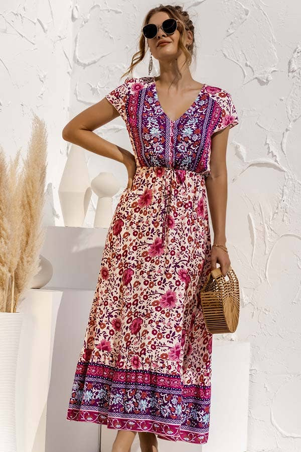 ESLEY - 49941DYO- Floral Printing V Neckline Midi Dress