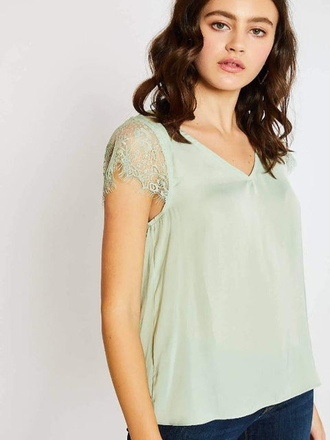 Mittoshop - Mint lace v neck blouse