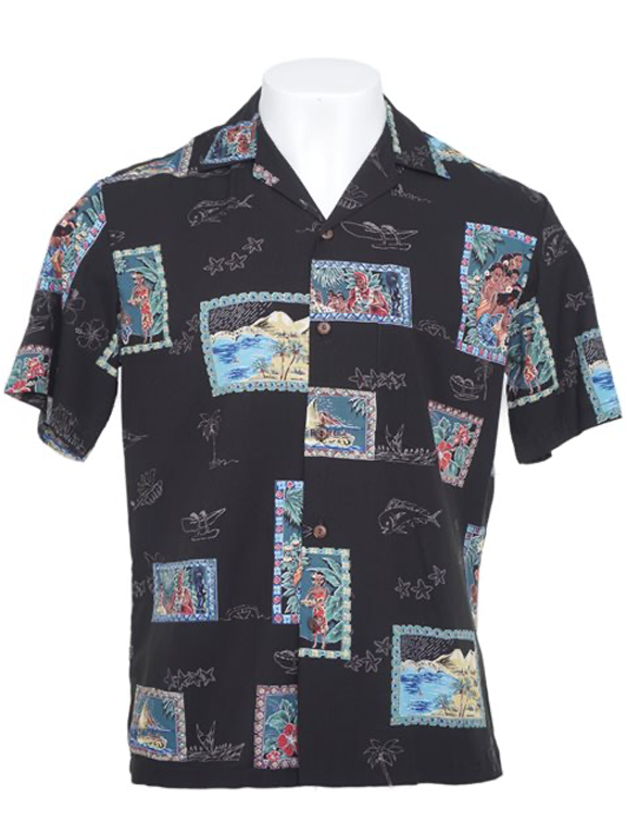 Two Palms- Postcards mens rayon dress shirt