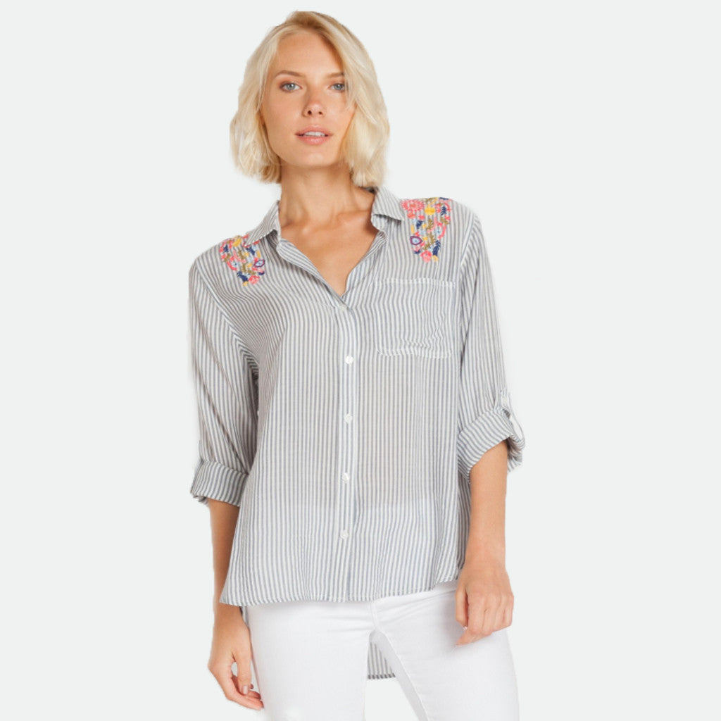 Elisa embroidery stripe top