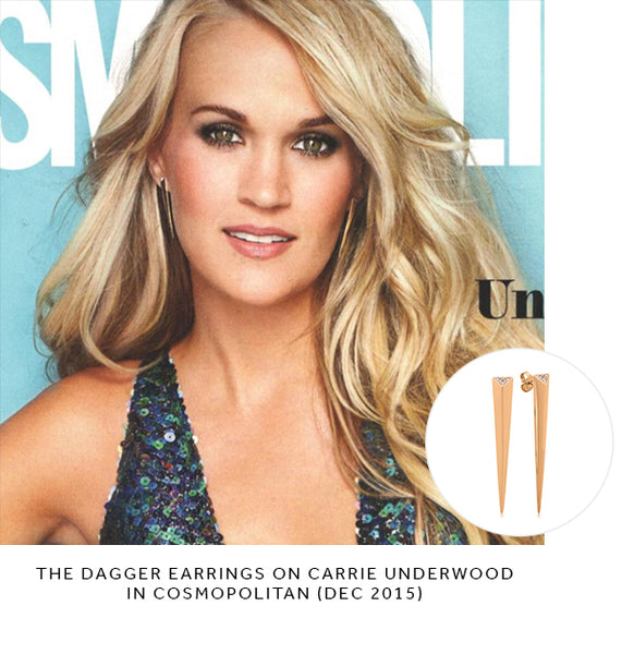 carrie underwood cosmopolitan shylee rose jewelry dagger earrings