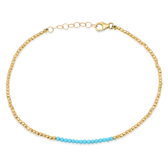 14k Gold Beaded Anklet with Turquoise Center