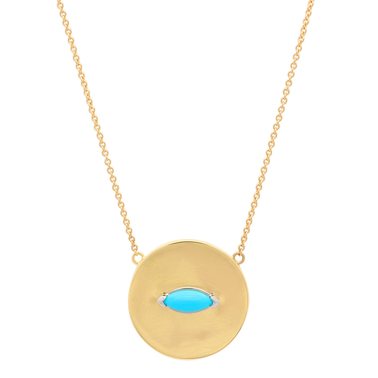 Turquoise Marquise Disc necklace