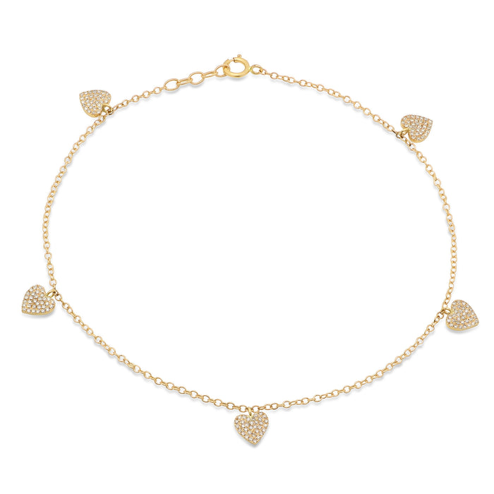 5 Diamond Heart Anklet