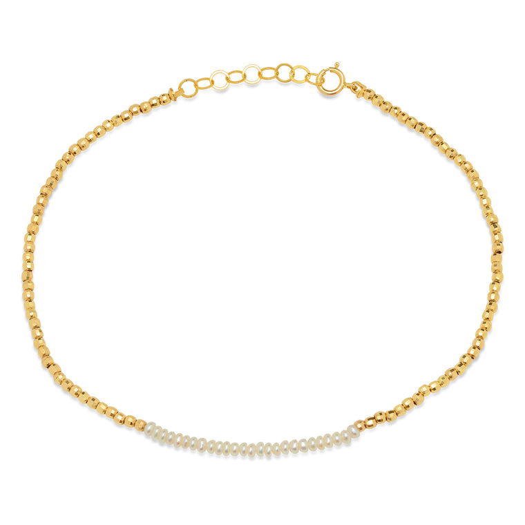 14K Gold Beaded Anklet with Pearl center