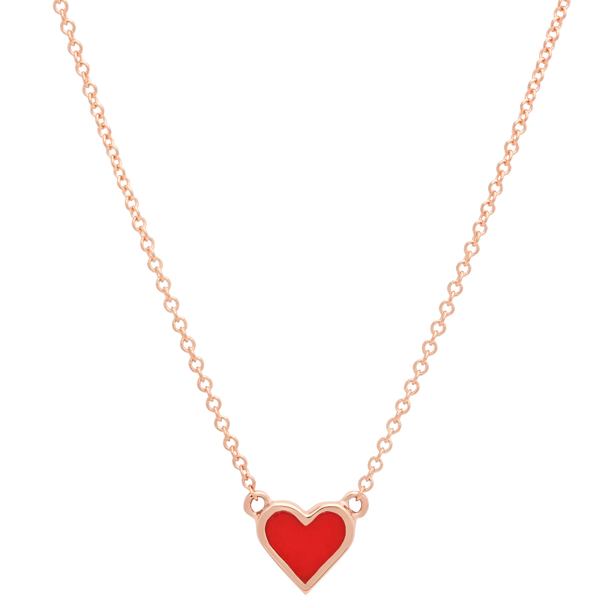 Red Enamel Heart Necklace