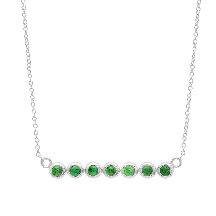 7 Emerald Stone Bar Necklace