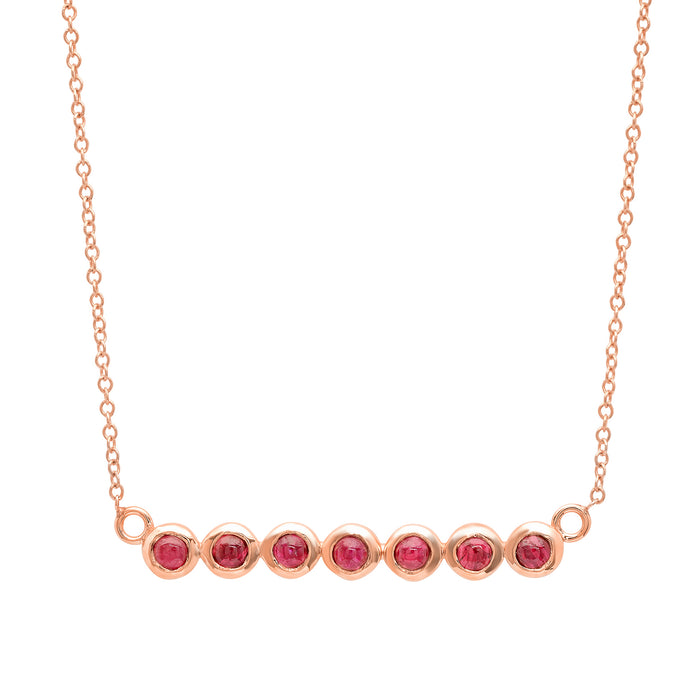 7 Ruby Stone Bar Necklace