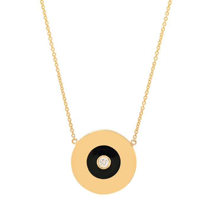 Gold Disc with Black Enamel and Diamond Center