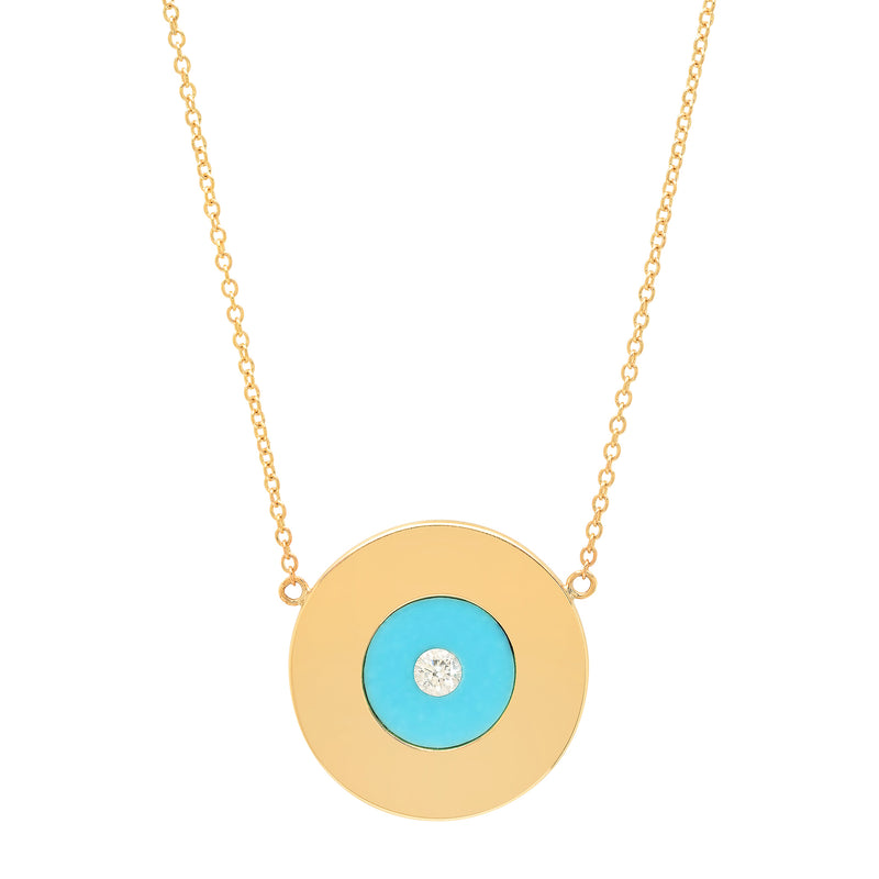 Gold Disc with Turquoise and Diamond Center