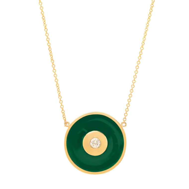 Emerald Green Enamel Evil Eye Disc Necklace with Diamond Center