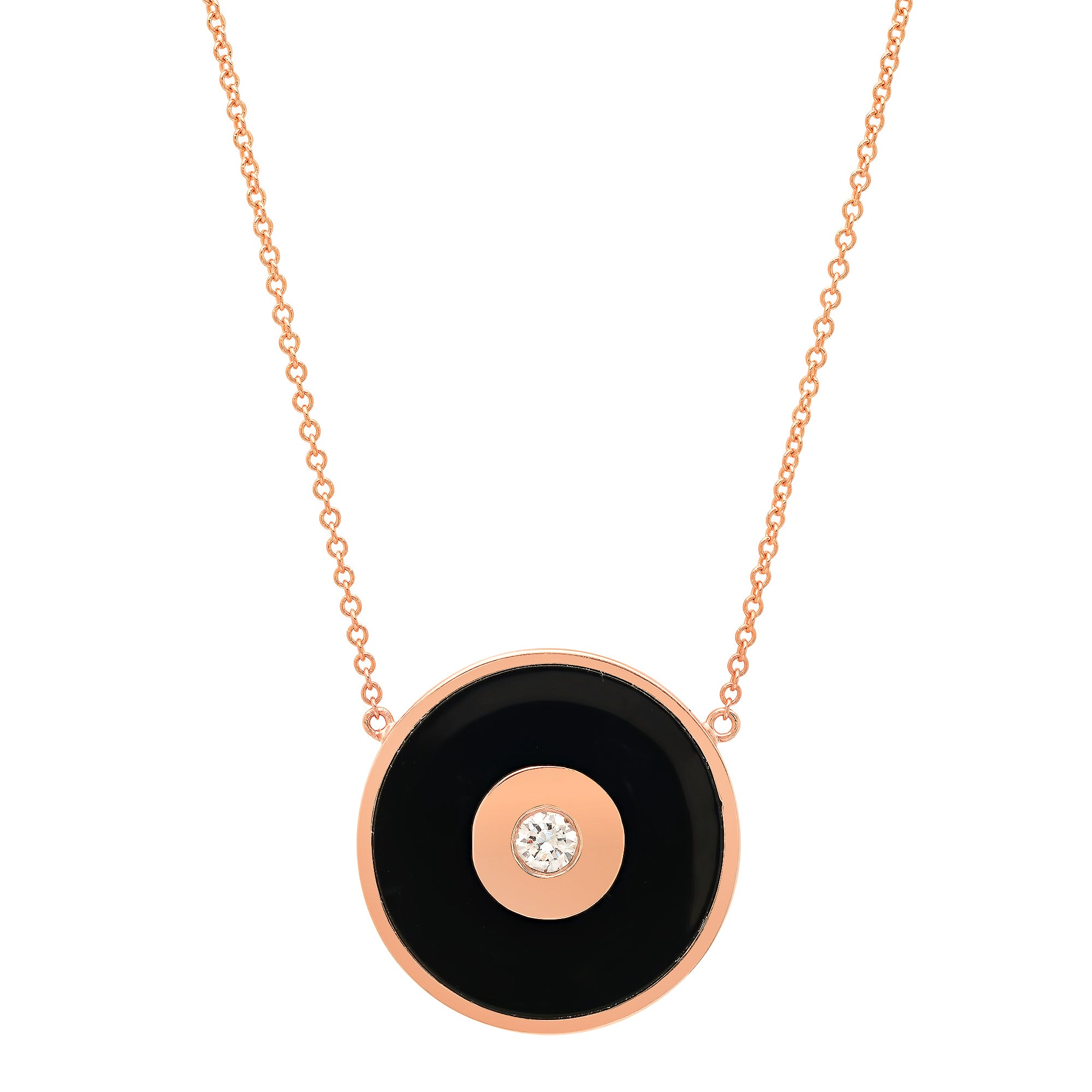 Black Enamel Evil Eye Disc Necklace with Diamond Center