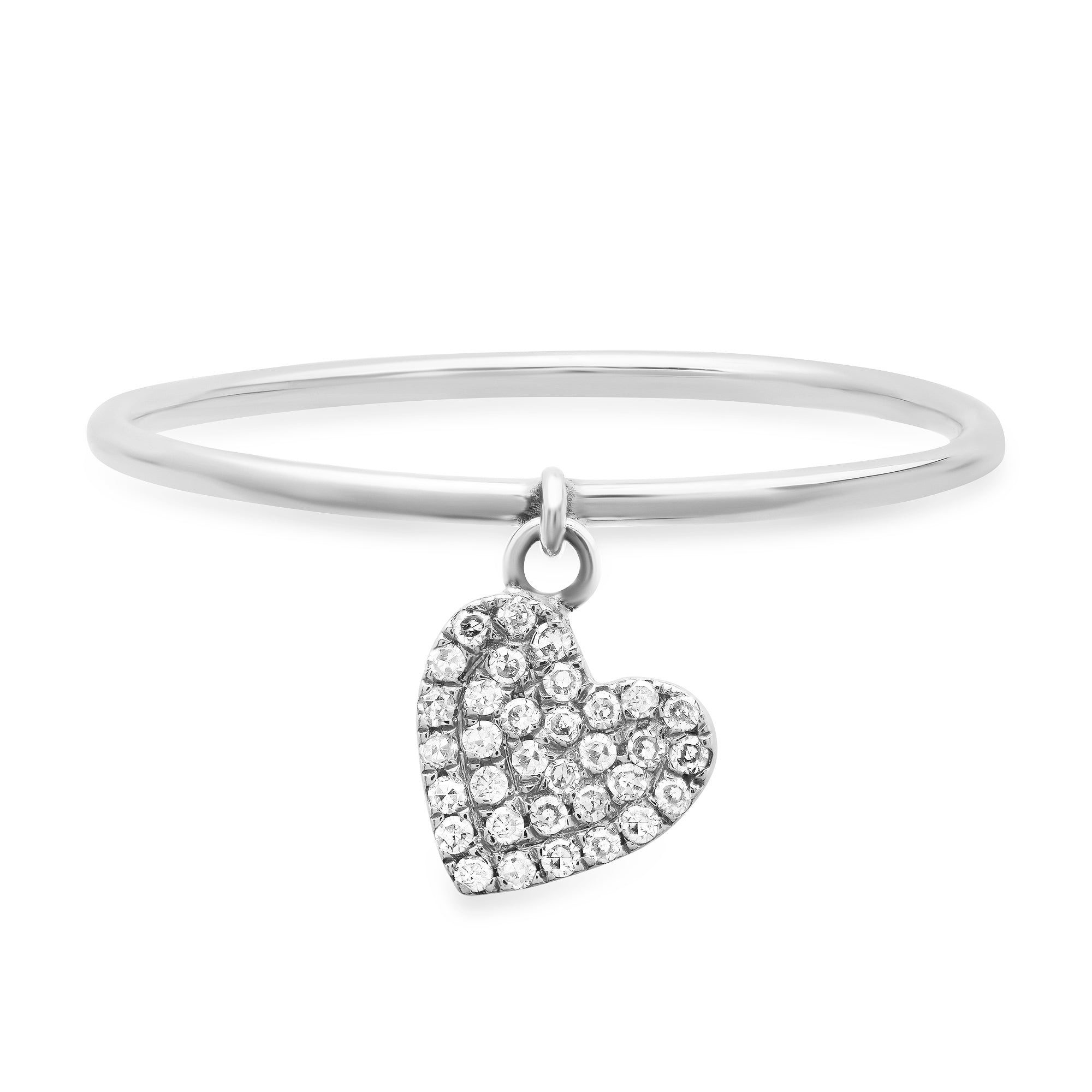Diamond Heart Charm Ring