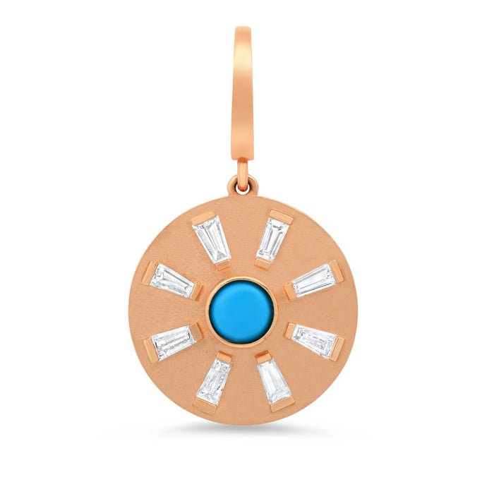 Turquoise Evil Eye With Baguette Ray Disc Charm
