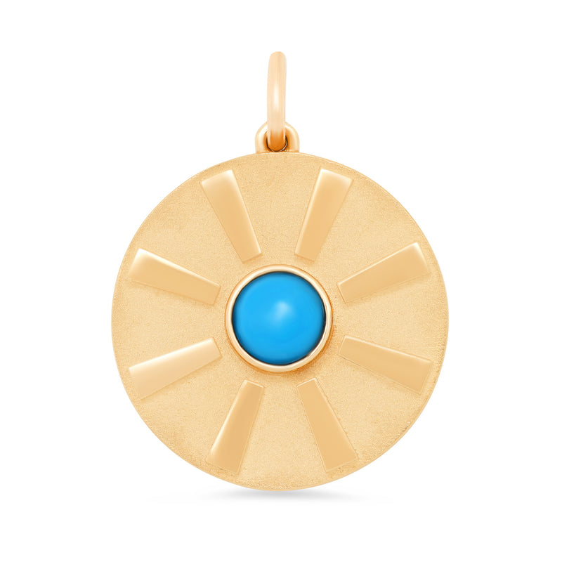 Turquoise Stone With Gold Rays Disc Charm