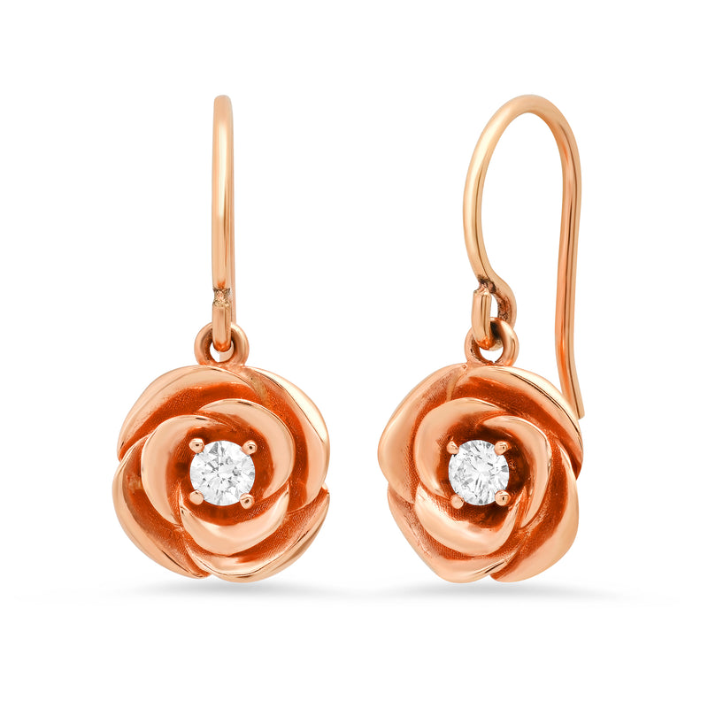 Floating Rose Diamond Earring on Wire