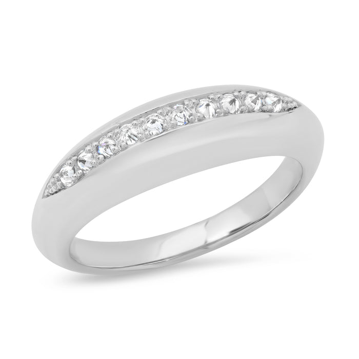 Small Inverted Diamond Domed Ring