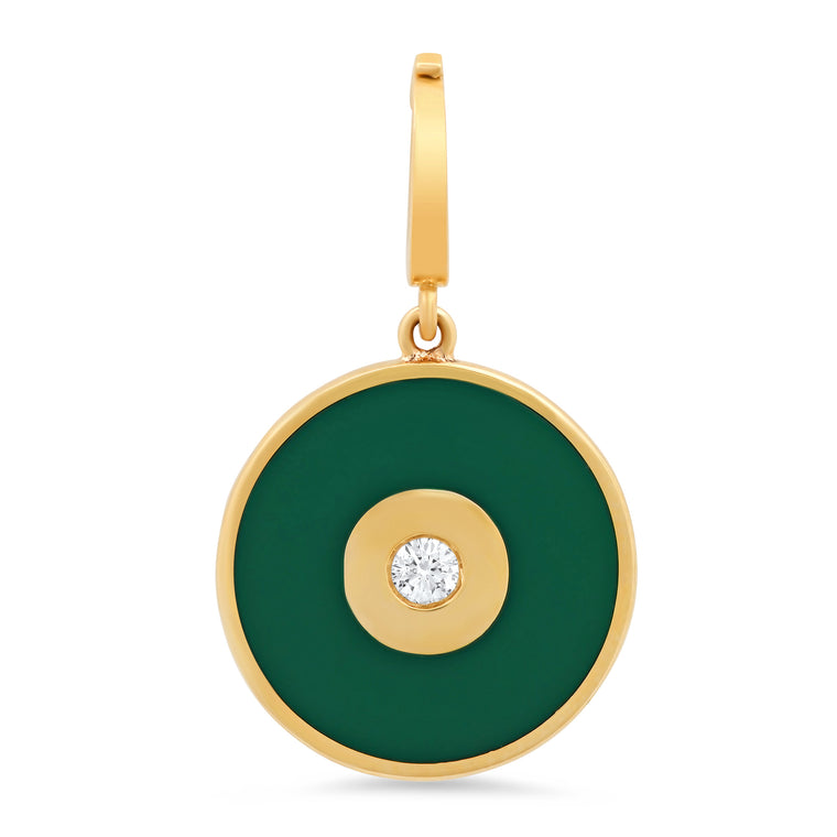 Emerald Green Enamel Evil Eye Disc Charm with Diamond Center