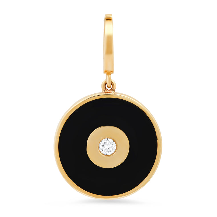 Black Enamel Evil Eye Disc Charm with Diamond Center