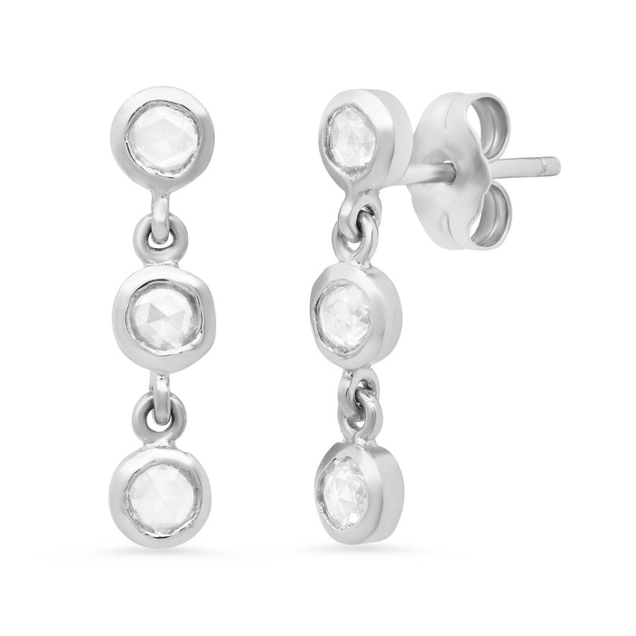 3 Diamond Bezel Drop Earrings