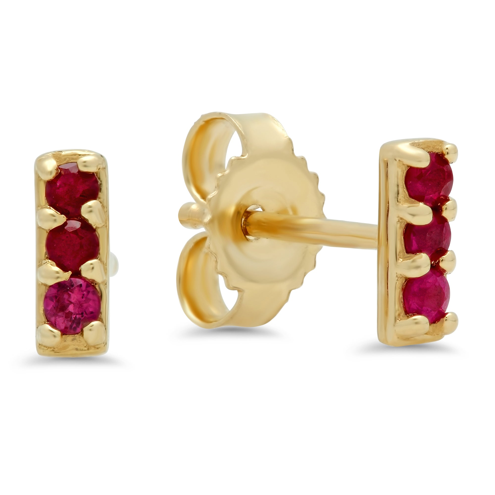 Three Stone Ruby Studs