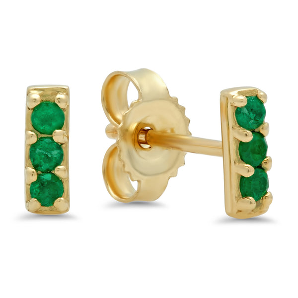 Three Stone Emerald Studs
